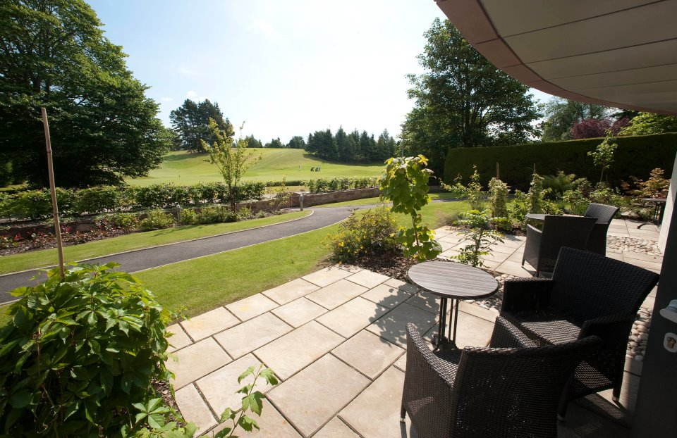 A Patio overlooking Inverness Golf Course