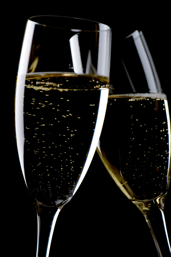Two glasses champagne macro